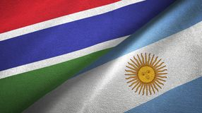 Gambia and Argentina two flags textile cloth, fabric texture. Gambia and Argentina flags together textile cloth, fabric texture stock illustration