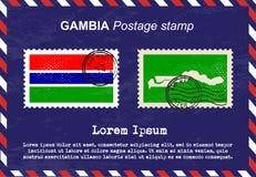 Gambia-Briefmarke, Weinlesestempel, Luftpostumschlag Stockbilder