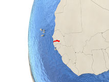Gambia on 3D globe Royalty Free Stock Photography