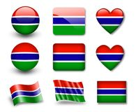 The Gambia Flag. Set of icons and flags. glossy and matte on a white background Stock Photography