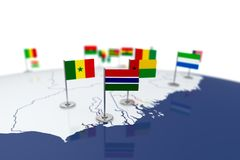 Gambia flag. Country flag with chrome flagpole on the world map with neighbors countries borders. 3d illustration rendering flag Stock Photography