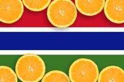 Gambia flagga i citrusfruktskivahorisontalram arkivfoto