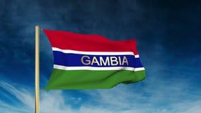 Gambia-Flaggenschieberart mit Titel Wellenartig bewegen in stock video