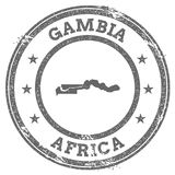 Gambia grunge rubber stamp map and text. Stock Image