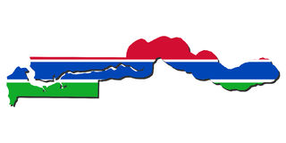 Gambia map flag Stock Photo