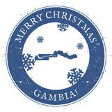 Gambia map. Vintage Merry Christmas Gambia Stamp. Royalty Free Stock Photography