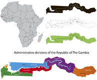 Gambia mp. Administrative division of the Republic of the Gambia Stock Photography