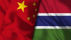 Gambia och Kina flagga - flagga för illustration 3D royaltyfri illustrationer