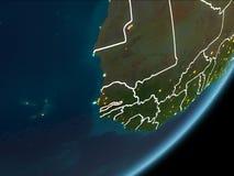 Gambia op nachtaarde Royalty-vrije Stock Afbeeldingen