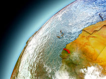 Gambia from orbit of model Earth Royalty Free Stock Image