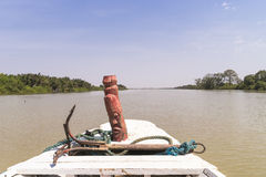 Gambia river. The bow of a ship sailing on the river Gambia. Africa royalty free stock photos