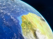 Gambia from space. On realistic model of planet Earth with country borders and detailed planet surface and clouds. 3D illustration. Elements of this image vector illustration