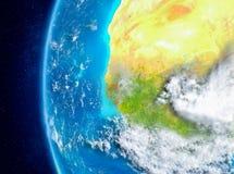 Gambia ter wereld van ruimte Stock Afbeelding