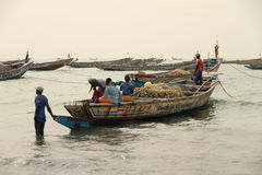 Gambian fishing boats royalty free stock photo