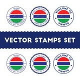 Gambian flag rubber stamps set. Stock Image