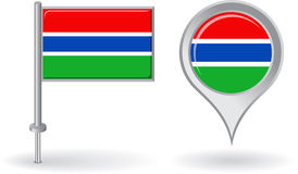Gambian pin icon and map pointer flag. Vector Royalty Free Stock Images