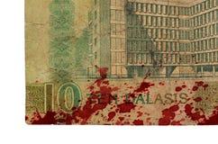 10 Gambianer-Dalasibanknote, blutig Stockfoto