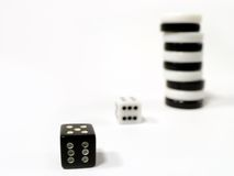 Gamble 3. Dice and counters Royalty Free Stock Images