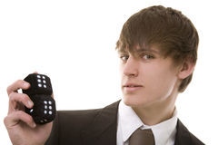 Gamble. Young man with a set of dice. Good metaphor for gambling, betting, risk etc Royalty Free Stock Photography