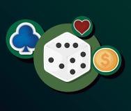 Gamble casino concept. Casino gamble dice coin money sticker vector illustration stock illustration