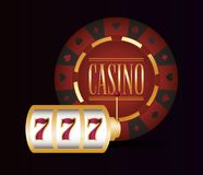 Gamble casino concept. Slot machine and chip bet casino gamble vector illustration stock illustration