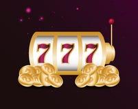 Gamble casino concept. Slot machine gold coins money casino gamble vector illustration stock illustration