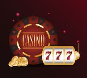 Gamble casino concept. Slot machine jackpot chip coins casino gamble vector illustration stock illustration