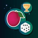 Gamble casino concept. Casino gamble trophy fruit and dice sticker vector illustration stock illustration