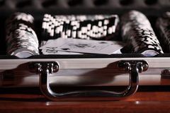 Gamble chips. In an alluminium briefcase stock photography