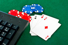 Gamble chips and cards. Royalty Free Stock Photo