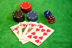 Gamble chips, cards and dices Stock Photo