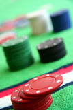 Gamble chips. In a casino table stock image