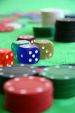 Gamble chips and dices Stock Photo