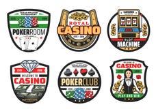 Gamble games, casino poker cards and dice. Casino icons, gamble game poker cards and dices. Vector casino symbols, golden horseshoe and croupier, dollars cash stock illustration