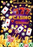 Gamble games, casino poker wheel of fortune dice. Casino wheel of fortune, dice and playing cards poster. Vector gambling game roulette with jackpot sparkling stock illustration