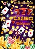 Gamble games, casino poker wheel of fortune dice stock illustration