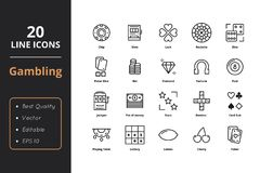 20 Gamble line icons. High level quality thin line gamble icons. Icons for web and user interface Royalty Free Stock Images