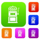 Gamble machine set collection. Gamble machine set icon in different colors isolated vector illustration. Premium collection stock illustration