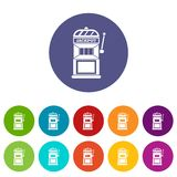 Gamble machine set icons. In different colors isolated on white background royalty free illustration