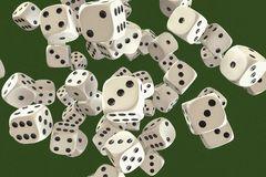 A gamble with many dice. 3d rendering vector illustration