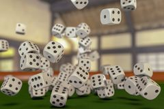 A gamble with many dice. 3d rendering stock illustration