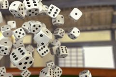 A gamble with many dice. 3d rendering royalty free illustration