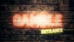 Gamble Neon Sign. Mounted on brick wall, 3d rendering illustration royalty free illustration