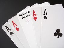 Gamble on Options and Futures Markets. Poker Aces and a Options and Futures card, for a real gamble Stock Photo