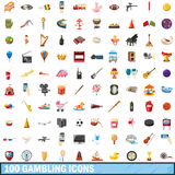 100 gamble set, cartoon style. 100 gamble icons set in cartoon style for any design vector illustration Vector Illustration
