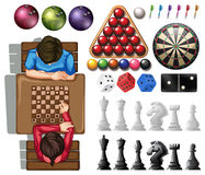 Gamble set with people playing chess Royalty Free Stock Photos