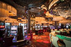 Casino Interior. Gamble tables and slot machines in a casino Royalty Free Stock Photography