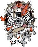 Gambler. Tattoo styled t-shirt graphic - gambler vector illustration