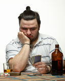 Gambler with cards Royalty Free Stock Photography
