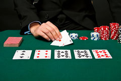 Gambler with cards and chips. royalty free stock photo